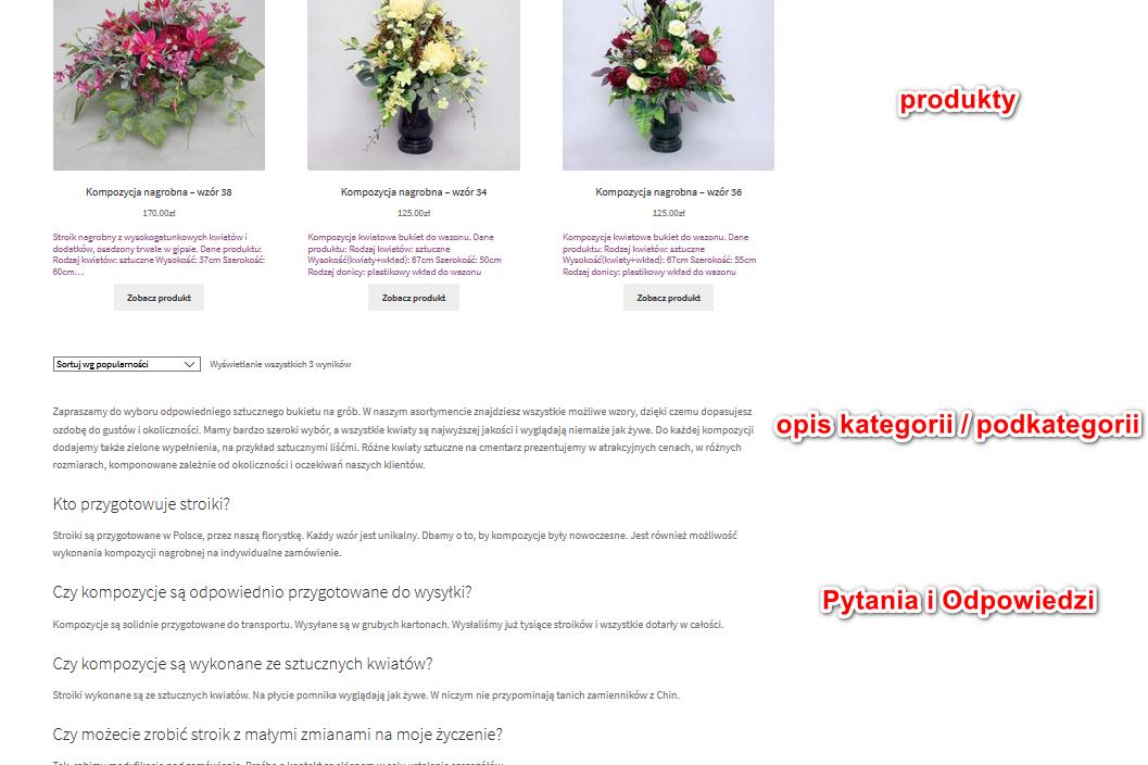 łączenie sekcji FAQ z opisem przy opisach kategorii