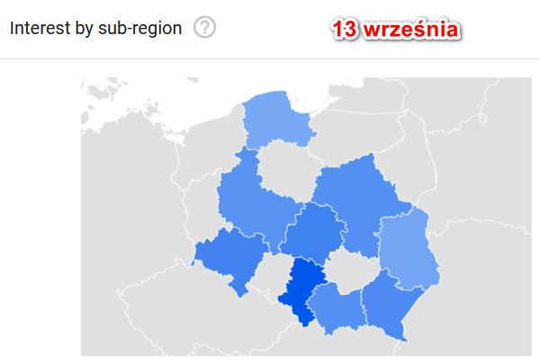mapa zapytań utrata węchu z 13 września