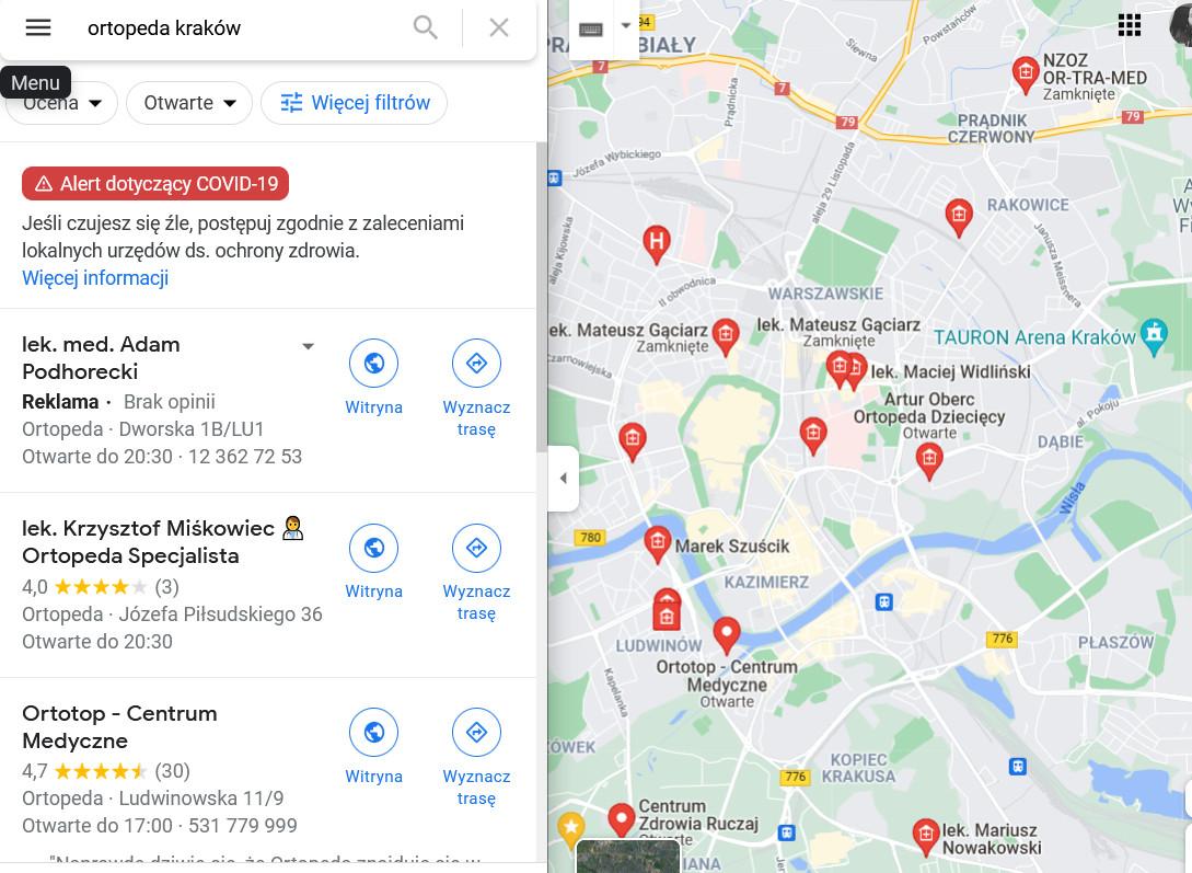 szukanie-uslug-medycznych-google-maps